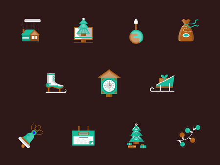 traditional events: Wintertime fun and leisure. Christmas holidays. Traditional events. Collection of flat color vector icon on brown background. Web design elements for business, website and mobile. Illustration