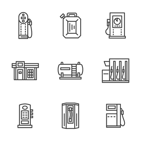 refuel: Samples of filling stations. Power charger, benzin, diesel station. Vehicles refuel. Set of black simple line vector icons. Web design elements for business, website and mobile.