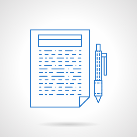 articles: Abstract document page with sample text and pen. Writing articles, web article, blogging, newsletter. Flat blue line style vector icon. Single web design element for mobile app or website. Illustration