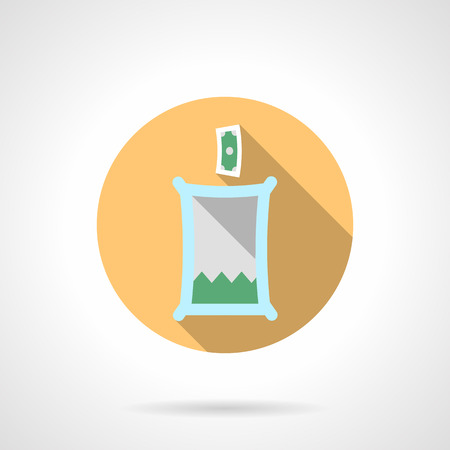 fundraiser: Transparent container with coins for donations. Charity and fundraiser. Round flat color vector icon with long shadows. Single web design element for mobile app or website.