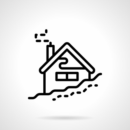 snowdrift: House in snowdrift. Winter holidays, skiing base. Black simple line style vector icon. Single web design element for mobile app or website. Illustration