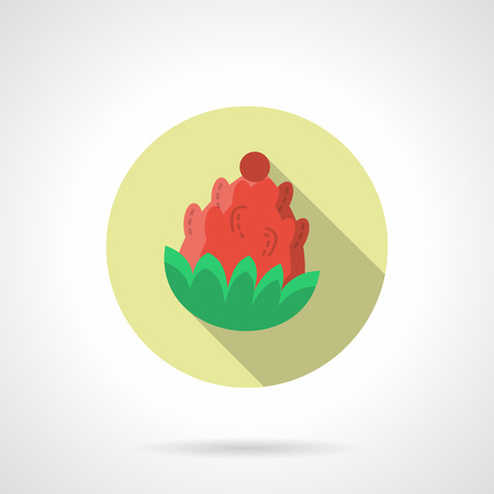 fir cone: Red pine cone or fir cone with green needles. Natural decorations for Christmas holidays. Round flat color style vector icon with long shadow. Single web design element for mobile app or website.