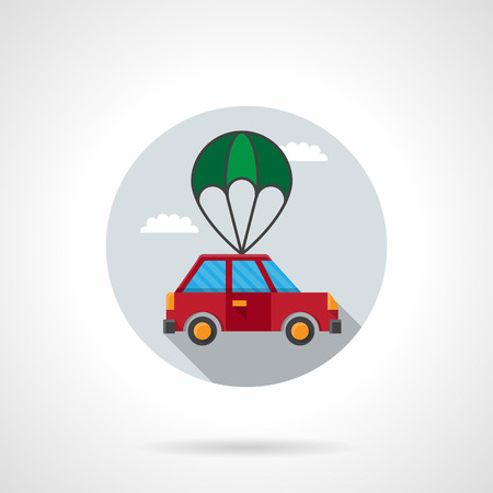 Red car with green parachute in a sky. Automobile delivery, insurance of car body. Round flat color style vector icon. Single web design element for mobile app or website. Ilustrace