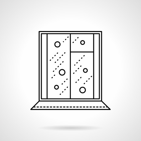 cold room: Snowfall outside of window. Christmas holidays theme. Winter weather. Flat black line style vector icon. Single web design element for mobile app or website.