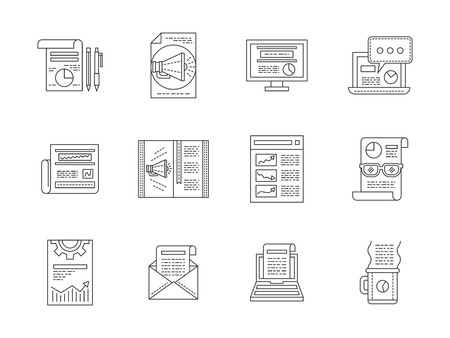 publications: Internet articles, newsletters, publications. Symbols and buttons for social media, advertising, blogging. Set of flat line vector icons. Elements of web design for business, website or mobile app. Illustration