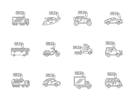 car for sale: Rent and sale vehicles. Online car store, e-business. Transport with tags. Set of flat line style vector icons. Elements of web design for business, website or mobile app. Illustration
