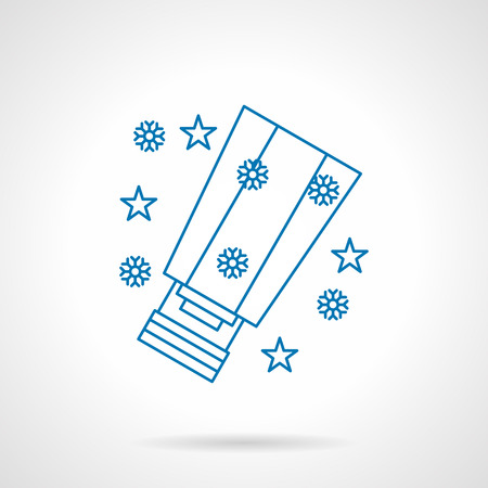 sky lantern: Christmas and New Year holidays. Paper sky lantern, snowflakes and stars. Oriental tradition. Blue flat line vector icon. Design element for website, mobile app, business. Illustration