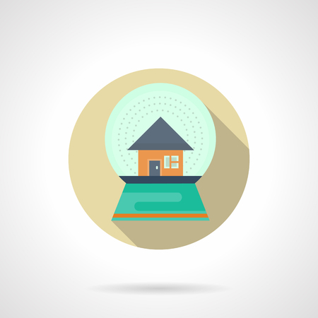 christmas snow globe: Glass Christmas snow globe with house. Xmas holidays, wintertime symbol. Round flat color vector icon with long shadow. Design element for website, mobile app, business.