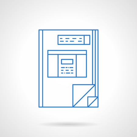 ledger: Financial accounting book. Accounting ledger, e-business, management. Flat blue line style vector icon. Design element for website, mobile app, business.