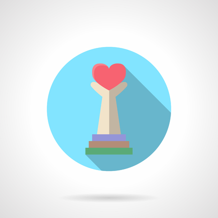 together voluntary: Abstract column with hands hold red heart. Volunteers and charity symbol. Round flat color vector icon with long shadow. Design element for website, mobile app, business. Illustration