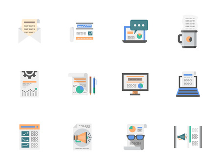 articles: Creating and publishing content, web articles, hot news. Media flat color vector icons set. Elements of web design for business, website and mobile. Illustration