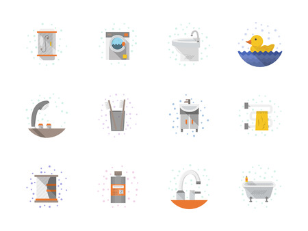 bath room: Set of flat color style vector icons with drops for bathroom. Bathroom interior and accessories, pipeline, washing machine, dryer. Elements of web design for business, website and mobile. Illustration