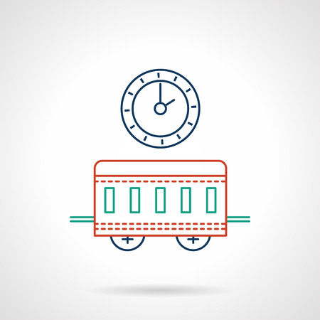 subway station: Symbol objects for railway station or subway. Clock and wagon. Passenger transportation. Flat color line vector icon. Single web design element for mobile app or website. Illustration
