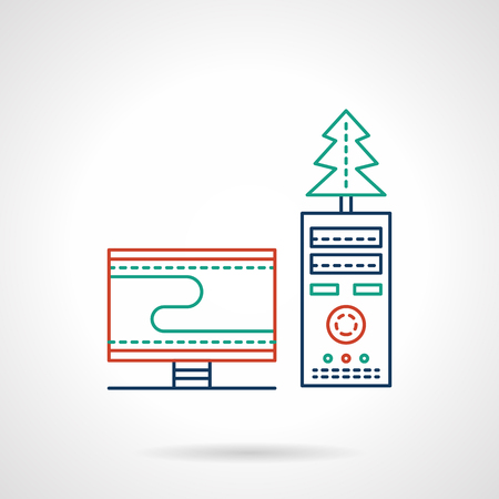 freelancers: Computer with monitor and Christmas tree. Office and homework, freelancers workspace. Colored flat line style vector icon. Single web design element for mobile app or website. Illustration