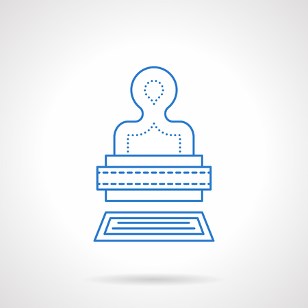 checkout line: Stamp with print. Business concept. Post symbol, office accessory, paperwork. Blue flat line style vector icon. Single web design element for mobile app or website.
