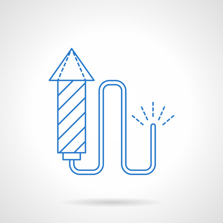 pyrotechnics: Firecracker with fuse. Pyrotechnics for celebrations and party. New Year and Christmas holidays. Blue flat line style vector icon. Single web design element for mobile app or website. Illustration