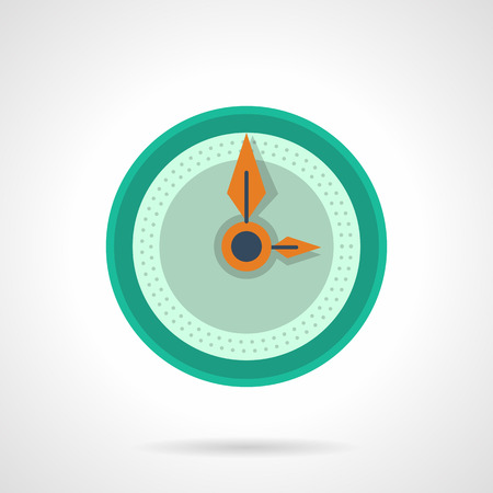 dial plate: Round clock with blank dial ans orange arrows. Time button. Contdown. management, deadline. Flat color simple vector icon. Single web design element for mobile app or website.