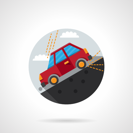going down: Red car going down on a slope of the hill or roadside. Insurance cases. Round flat color vector icon. Single web design element for mobile app or website.