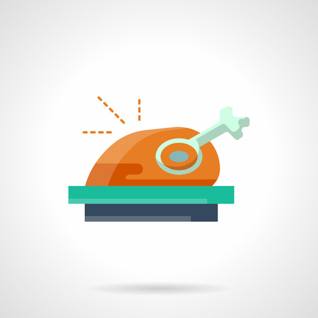 winter barbecue: Traditional poultry dish. Roasted hot chicken or turkey on a color tray. Stylish flat color vector icon. Single web design element for mobile app or website. Illustration