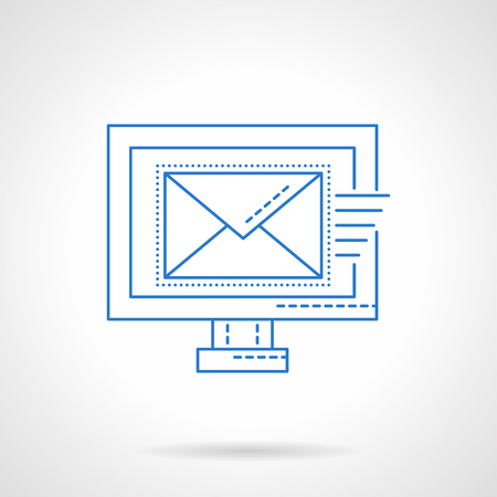 emarketing: Computer monitor with sending letter, email. E-marketing, newsletter, contact symbol. Blue flat line style vector icon. Single web design element for mobile app or website. Illustration