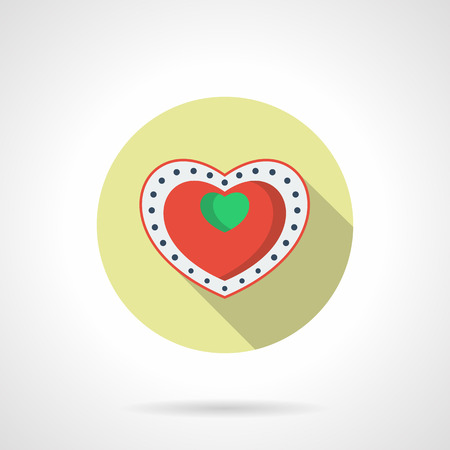 february 1: Box of chocolates with green heart decor. Holidays present, birthday or Valentine day gift. Round flat color vector icon with long shadow. Single web design element for mobile app or website. Illustration