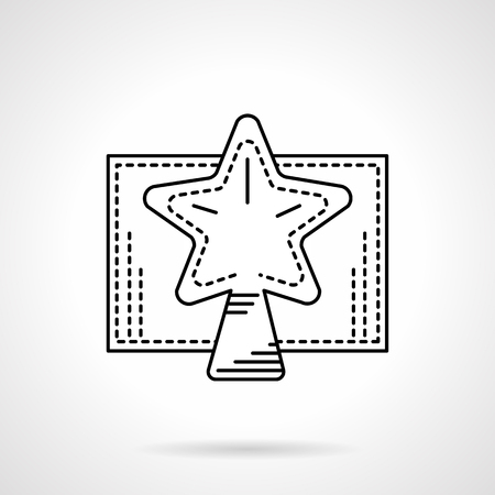 decorate element: Traditional decorate star for Christmas tree. Winter holidays. Happy New Year 2016. Black flat line style vector icon. Single web design element for mobile app or website.
