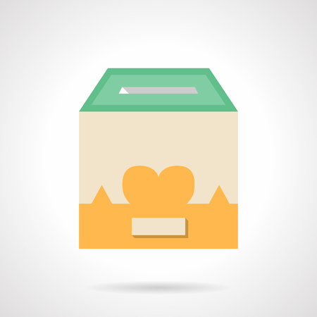 raising cans: Donation box with heart image. Charity concept. Flat color style vector icon. Single web design element for mobile app or website. Illustration