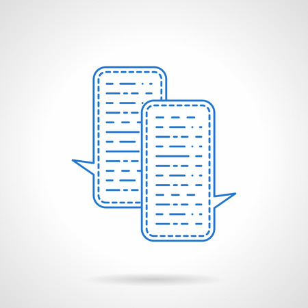 mobile communications: Web communications. Chat rectangle bubbles. Business messaging, social services, support. Blue flat line style vector icon. Single web design element for mobile app or website. Illustration