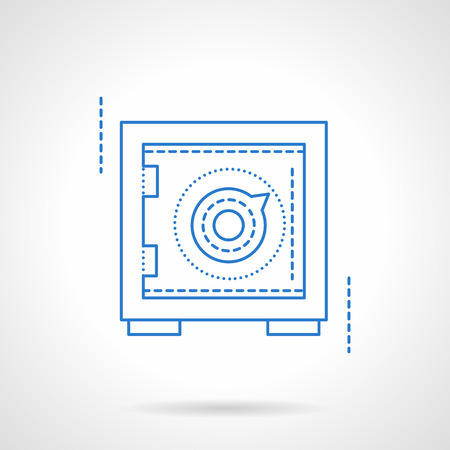 financial savings: Safe or safety deposit box. Financial savings, banking. Blue flat line style vector icon. Single web design element for mobile app or website. Illustration