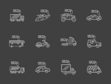 car for sale: Vector collection of white thin line style icons for car business on black background. Sale and rent vehicles. Cars with price tags. Elements of web design for business, website and mobile. Illustration