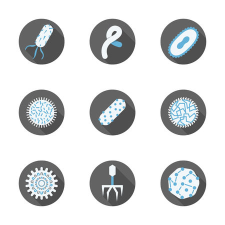virology: Clinical laboratory, virology and microbiology assay. Viruses and bacteria flat color round icons vector collection.  Elements of web design for business, website and mobile.