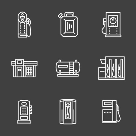 refueling: Gasoline or petrol station, pumps with fuel nozzle. Set of simple white line style vector icons on black background. Elements of web design for business, website and mobile.