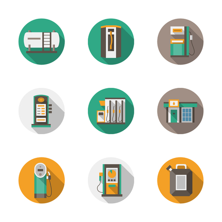filling station: Set of round flat color vector icons for filling station, car services. Alternative refill. Long shadows. Elements of web design for business, website and mobile.