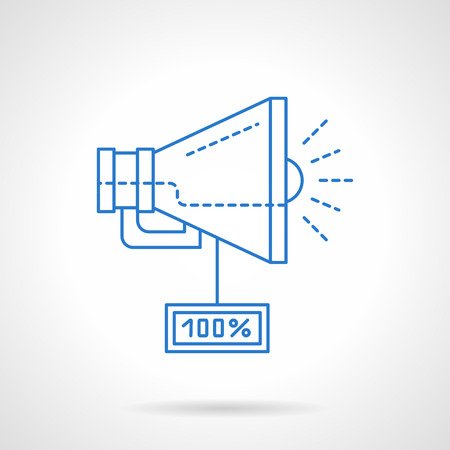 ebusiness: Digital marketing and e-business concept. Loudspeaker with percent discount tag. Advertising, web promotion. Blue flat line vector icon. Single web design element for mobile app or website. Illustration