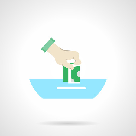 fundraiser: Hand putting money in a box. Illustration