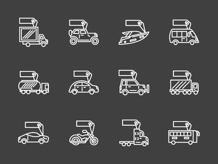 Car business. Rent and sale of different mode of vehicles. Auto, yacht and motorbike with tag white line vector icons set on black background. Elements of web design for business, website and mobile. Illustration