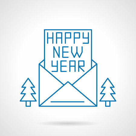 firtrees: Happy New Year letter or card in an opening envelope and two fir-trees.  Illustration
