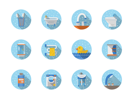 art design: Bathroom accessories and equipment. Household objects. Round flat style vector icons with drops. Elements of web design for business, website and mobile.
