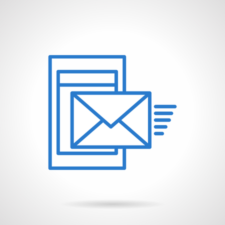 sending: Sending message from smartphone or mobile device. Mobile mail. Simple blue line vector icon. Communications symbol. Web design element for website and mobile app.