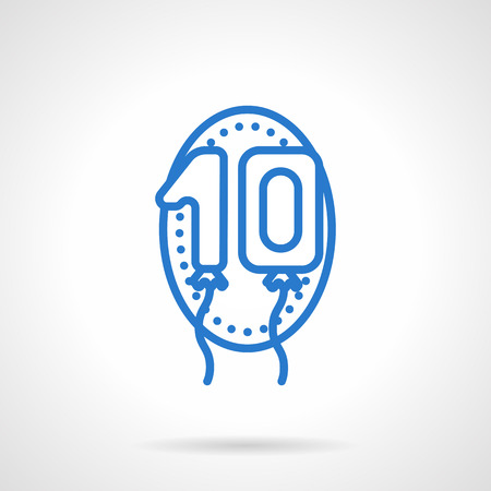 0 1 year: Numerals balloons, ten sign in oval frame. One and zero balloons. Decoration for anniversary and birthday. Simple blue line vector icon. Web design element for website and mobile app.