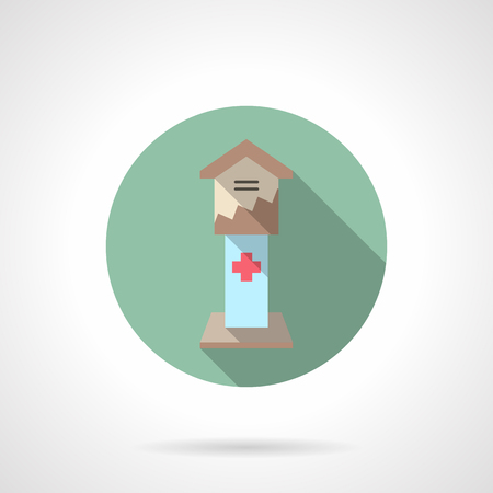 hospice: Donation box with cross. Fundraising and charity for hospital, health care organizations. Round flat color style vector icon with long shadow. Web design element for website and mobile app.