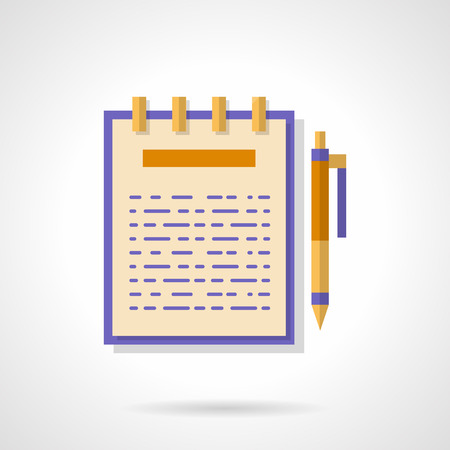 article: Ring notebook with article on page and pen. Blogging, creating and publishing content, copywriting. Flat color style vector icon. Single web design element for business, site, app.