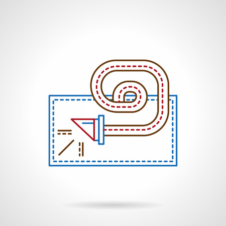 blowout: Party and fun. Blowout toy, noise maker, whistle with ribbon. Thin color line style vector icon. Single web design element for business, site, app.