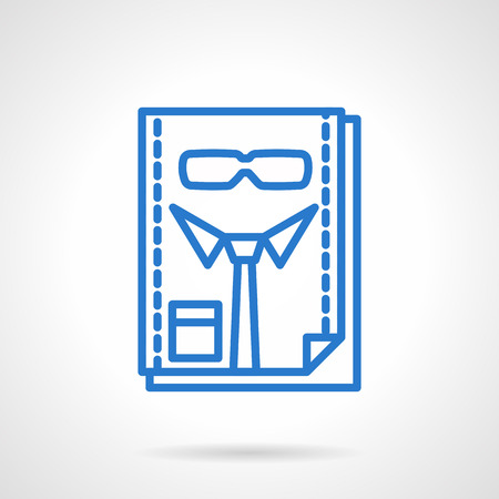 headhunter: Page with tie and glasses, abstract manager sign. HR, headhunter, staff management. Simple blue line style vector icon. Single web design element for business, site, app.