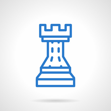 tactic: Rook, chess figure or symbol. Business strategy and tactic, business planning. Simple blue line style vector icon. Single web design element for business, site, app.