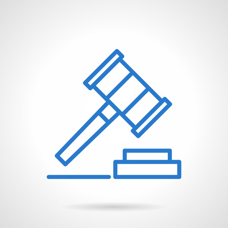 arrested: Justice sign, auction. Gavel as making decisions symbol. Blue simple line style vector icon. Single web design element for business, site, app.