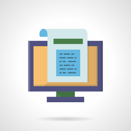 Computer monitor with web document page. Internet article, blogging, newsletter. Flat color style vector icon. Element for web design, business, mobile app.
