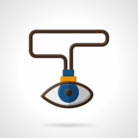 observation: Eye label on lace. Vision, sight, observation symbol. Search, HR concept. Flat color style vector icon. Element for web design, business, mobile app.