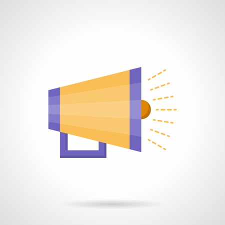 to announce: Yellow megaphone with purple elements. Announce loudspeaker. Advertising and promotion button. Flat color style vector icon. Element for web design, business, mobile app. Illustration