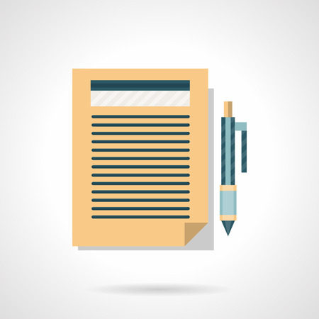 articles: Written paper document with pen button. Writing articles, blogging, copywriting. Flat color style vector icon. Element for web design, business, mobile app.